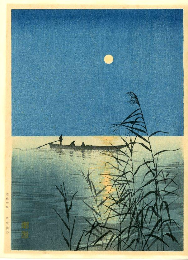 満月に湖上遊舟